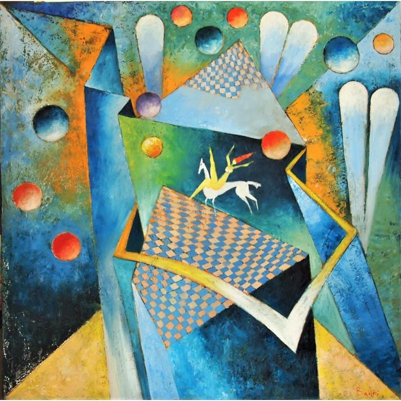 Badri 105x105 μοντερνος πίνακας ζωγραφικής ''Σκακιστής - ιππέας΄΄