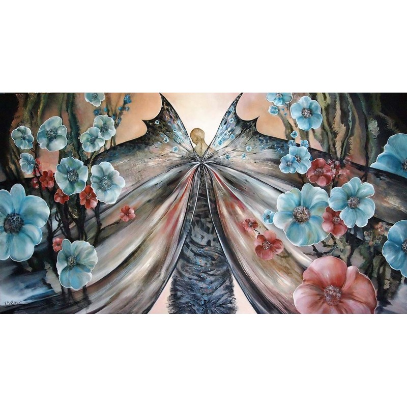 Mathieu 90x165 αυθεντική ελαιογραφία ΄΄Η πεταλούδα΄΄