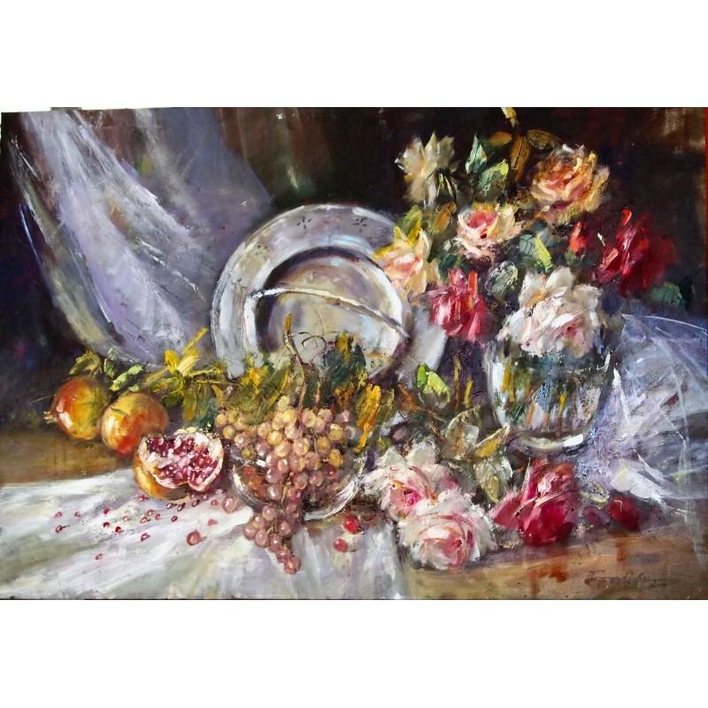 ΠΕΤΑΛΛΙΔΟΥ 63Χ90 ΕΛΑΙΟΓΡΑΦΙΑ ''ΑΝΑΜΝΗΣΕΙΣ'' Λουλούδια